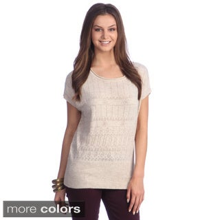 Women's Open-knit Short Sleeve Sweater