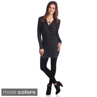 Hadari Women's Solid Long-sleeve Surplice Tunic