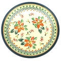 Orange and Green Floral Polish Stoneware 8-inch Salad Plate (Poland)