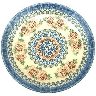 Blue and Cream Floral Polish Stoneware 8-inch Salad Plate (Poland)