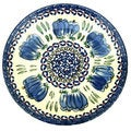 Blue and Green Floral Polish Stoneware 8-inch Salad Plate (Poland)