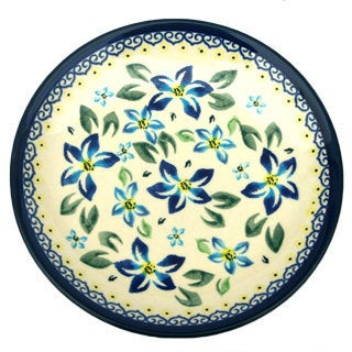 Cobalt Blue and Cream Floral Polish Stoneware 8-inch Salad Plate