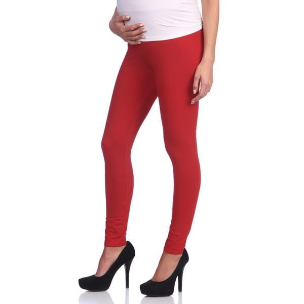 Ashley Nicole Maternity Women's Red Belly Band Leggings