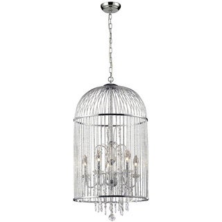 Avary 5-light Crystal and Chrome Cage Chandelier