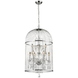 Avary 9-light Chrome and Crystal Cage Chandelier