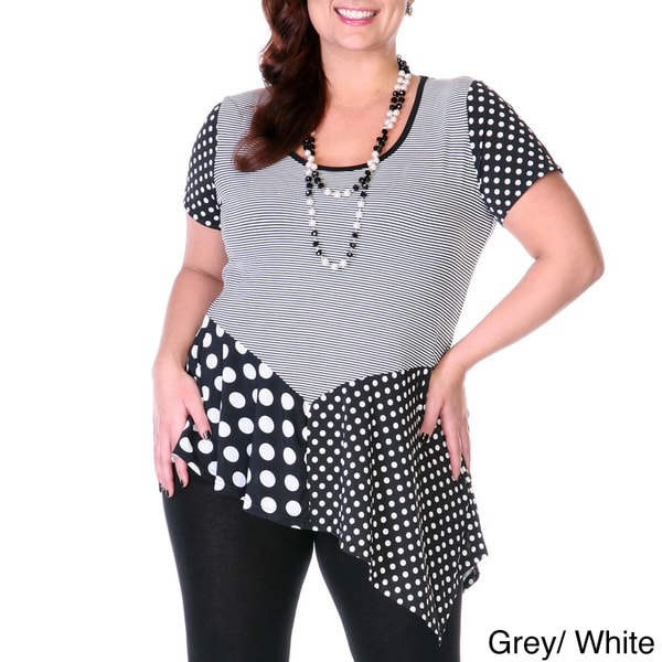 Women's Plus Size Two-tone Spliced Tunic