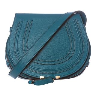 Chloe 'Marcie' Medium Laguna Blue Leather Round Crossbody