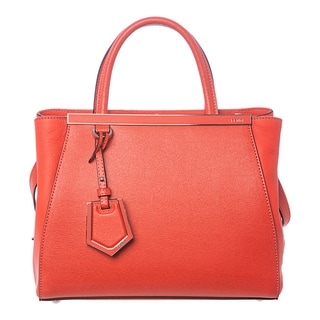 Fendi '2Jours' Petite Poppy Orange Leather Shopper Bag