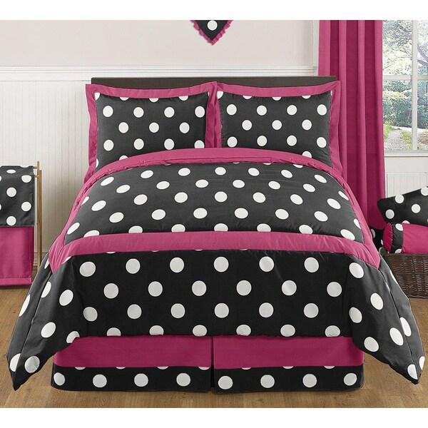 Sweet Jojo Designs Girls 'Hot Dot' 3-piece Full/Queen Comforter Set