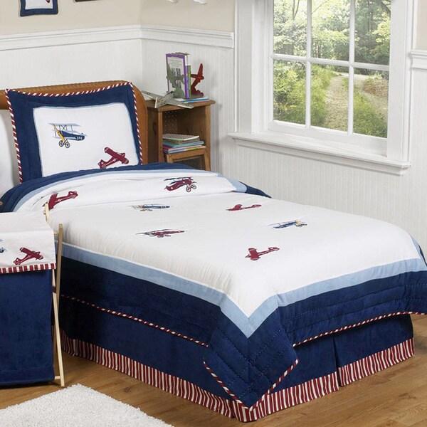 Sweet Jojo Designs Boys 'Vintage Aviator' 3-piece Full/Queen Comforter Set