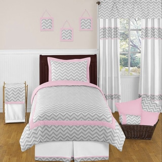 Sweet Jojo Designs Girls 'Chevron' 4-piece Twin Comforter Set