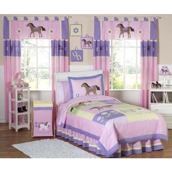 Sweet Jojo Designs Girls 'Pretty Pony' Twin 4-piece Comforter Set