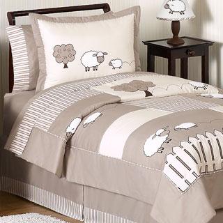 Sweet Jojo Designs Unisex 'Little Lamb' Twin 4-piece Comforter Set