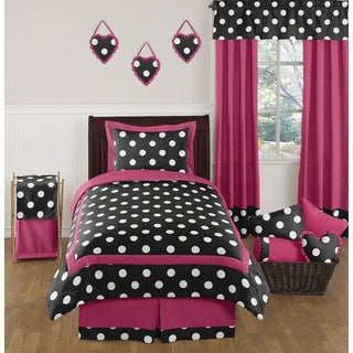 Sweet Jojo Designs Girls 'Polka Dot' 4-piece Twin Comforter Set