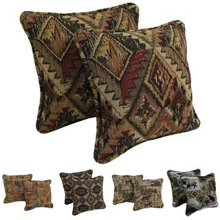 Blazing Needles Western Collection Corded Tapestry Removable Insert Pillow (Set of 2)