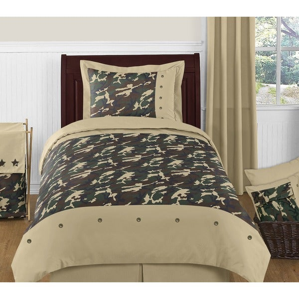Sweet Jojo Designs Boys 4-piece Army Green Camouflage Twin Comforter Set