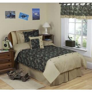 Sweet Jojo Designs Boys 4-piece Army Green Camouflage Twin Comforter Set
