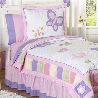 Sweet Jojo Designs Girls 4-piece Butterfly Twin Comforter Set