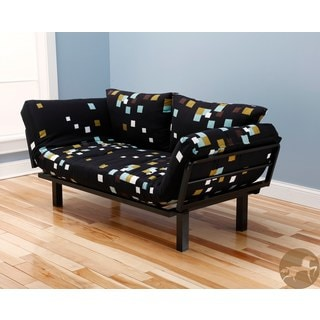 Christopher Knight Home Multi-Flex Black Metal Daybed/Lounger with Geometric Black Mattress and Pilllows Set