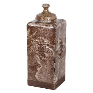Large Brown Ceramic Vase with Lid