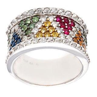 14k White Gold Multicolor Sapphire Gemstones Ring