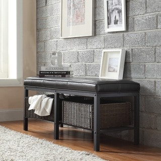 TRIBECCA HOME Myra II Black Brown Faux Leather Upholstered Modern Rustic Bench