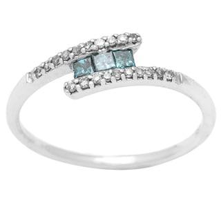 10k White Gold Blue and White Princess/ Round Diamond Ring (H-I, SI1-SI2)
