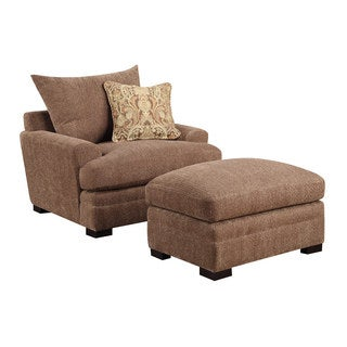 Emerald Latrice Brown Chair and Ottoman Set