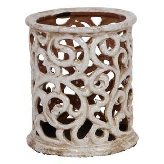 Medium Antique White Ceramic Hurricane Decorative Accent