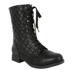 Women's Wild Diva Fighter-16 Black Faux Leather