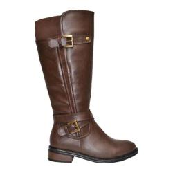 Women's Wild Diva Moto-4 Brown Faux Leather