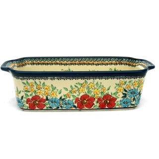 Floral Polish Stoneware 9-inch Loaf Pan (Poland)