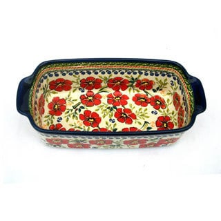 Red Floral Polish Stoneware 9-inch Loaf Pan (Poland)