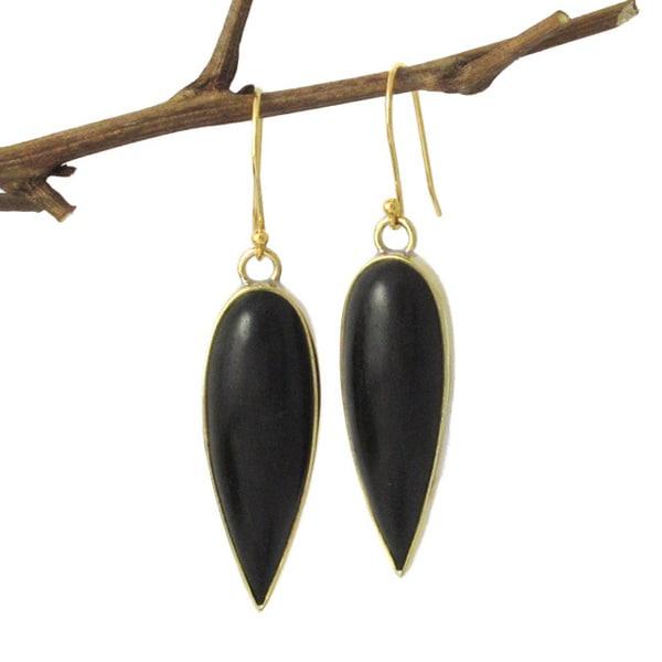 Black Beauty Inverted Teardrop Dangle Earrings (Indonesia)