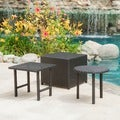Christopher Knight Home Danica Black Wicker 3-piece Table Set