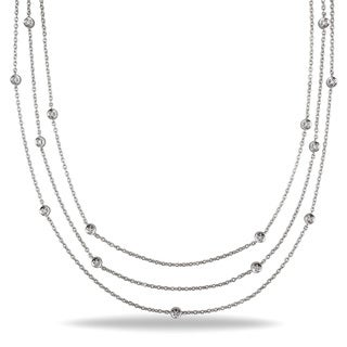 Miadora Sterling Silver 1/2ct TDW Diamond By the Yard Necklace (H-I, I3)