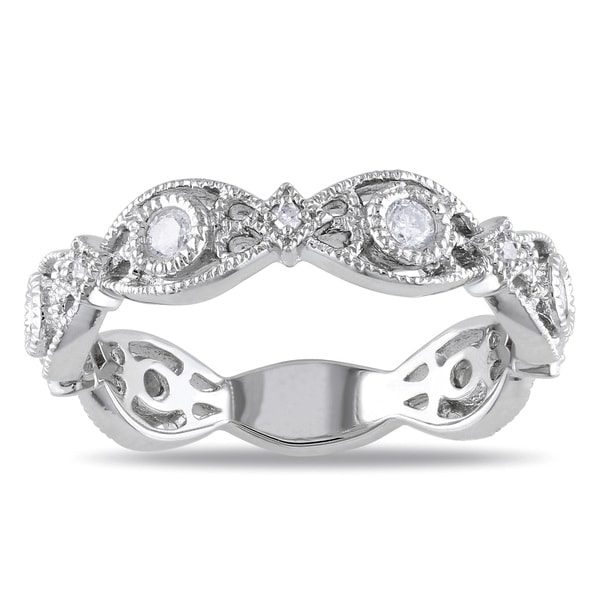 Haylee Jewels Sterling Silver 1/4ct TDW Diamond Ring (H-I, I2-I3)