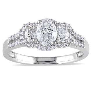 Miadora 14k White Gold 1ct TDW IGL-certified Oval Diamond Ring (G-H, I1)