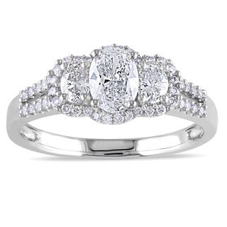 Miadora 14k White Gold 1ct TDW Diamond 3-Stone Engagement Ring (G-H, I1)