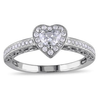 Miadora 14k White Gold 1/2ct TDW Diamond Heart Ring (G-H, I1-I2)