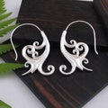Sterling Silver Plated Tribal Fusion Floral Dangle Earrings (Indonesia)