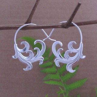 Sterling Silver Plated Unfurling Wave Tribal Fusion Dangle Earrings (Indonesia)