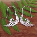 Sterling Silver Plated Wings of Freedom Tribal Fusion Dangle Earrings (Indonesia)