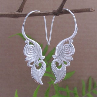 Sterling Silver Plated Hypnotic Tribal Fusion Dangle Earrings (Indoneisa)