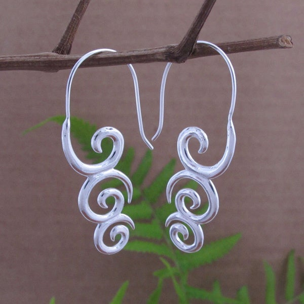 Sterling Silver Plated Koru Tribal Fusion Dangle Earrings (Indonesia)