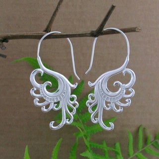 Sterling Silver Plated Swan Tribal Fusion Dangle Earrings (Indonesia)