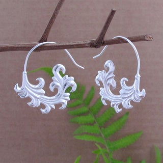 Sterling Silver Plated Tribal Fronds Dangle Earrings (Indonesia)