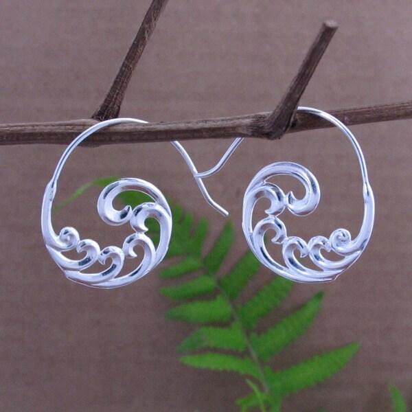 Sterling Silver Plated Fibonacci Swirl Dangle Earrings (Indonesia)