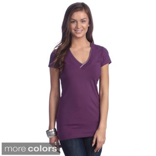 Left Coast Tee Women's Peruvian Pima Cotton Stretch Trim Fit V-neck T-shirt