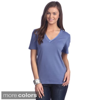 Left Coast Tee Women's Satin Classic Fit V-neck T-shirt